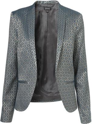 Topshop Jacquard Collarless Jacket