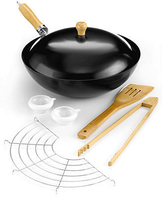 IMUSA Carbon Steel Nonstick 7 Piece Wok Set