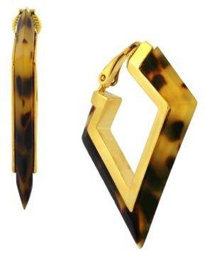 Vince Camuto Gold-Tone & Tortoiseshell Angular Hoop Earrings