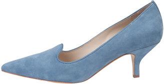 Elizabeth and James Clark Pointed-Toe Suede Smoking-Slipper Pump, Soft Blue