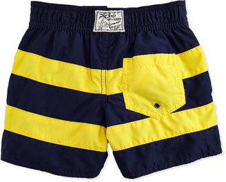 Ralph Lauren Sanibel Pieced Swim Trunks, Navy, 2T-3T