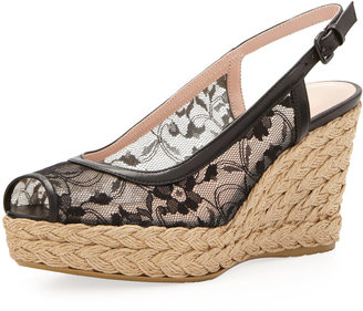 Stuart Weitzman Tuileries Lace Wedge Espadrille Sandal, Black