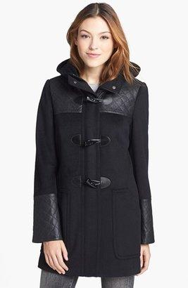 Calvin Klein Faux Leather Trim Duffle Coat