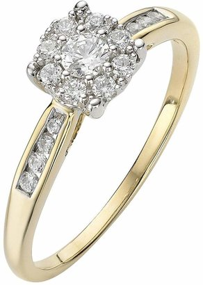 The Astral Diamond 9 Carat Yellow Gold 28 Point Cluster Ring With Stone Set Shoulders