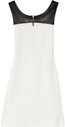 Sandro Leather-trimmed crocheted cotton mini dress