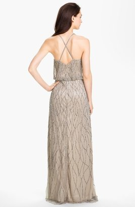 Adrianna Papell Beaded Mesh Blouson Gown