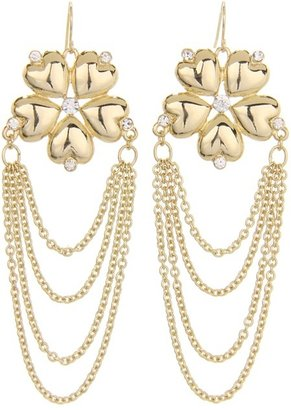 GUESS Fower Earrings with Chain Drape (Gold) - Jewelry