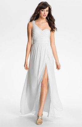 Adrianna Papell One Shoulder Lace & Chiffon Gown (Online Only)
