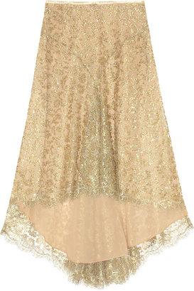 Michael Kors Bead and sequin-embellished metallic-lace skirt
