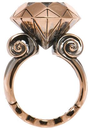 Hoorsenbuhs Golden Diamond Ring with Trillion cut Diamonds