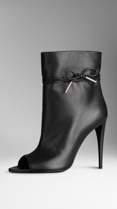 Burberry Bow Detail Peep-Toe Ankle Boots