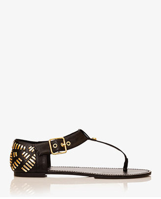 Forever 21 Metallic-Woven Thong Sandals