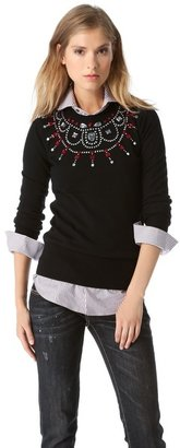 Markus Lupfer Rose Stone Necklace Sweater