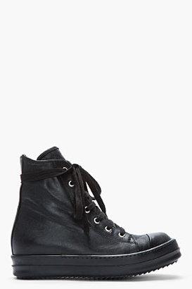 Rick Owens Black Leather Zip Ramones Sneakers