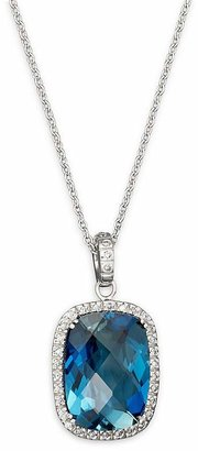 "Bloomingdale's London Blue Topaz Cushion and Diamond Necklace in 14K White Gold, 16"" - 100% Exclusive"