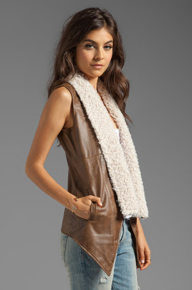 BB Dakota Elaine 2 Tone PU Leather Vest with Faux Fur