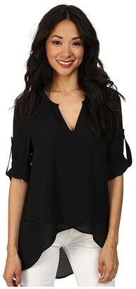 Karen Kane Asymmetrical Hem Wrap Top (Black1) Women's Blouse