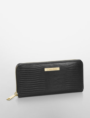 Calvin Klein Lizard Textured Leather Zip Close Wallet