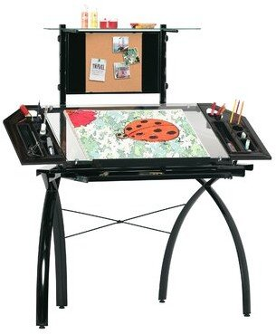 Studio Designs Futura Height Adjustable Glass Drafting Table Color: Black / Clear Glass