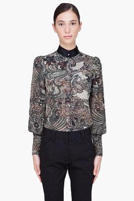 McQ by Alexander McQueen Beige Silk Floral Blouse