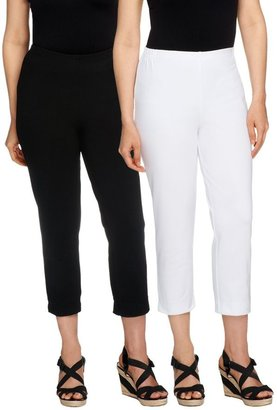 Women With Control Regular Set of 2 Straight Leg Knit Crop Pants