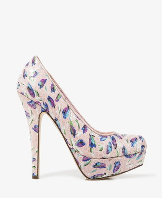 Forever 21 Sequined Tulip Print Pumps