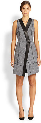 Proenza Schouler Leather-Trim Tweed Wrap Dress