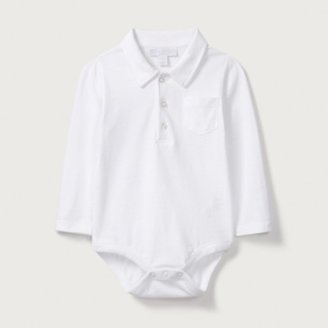 The White Company Long Sleeved Polo Bodysuit , White, 18-24mths