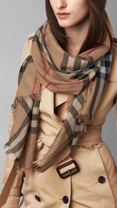 Burberry Check Wool Silk Scarf