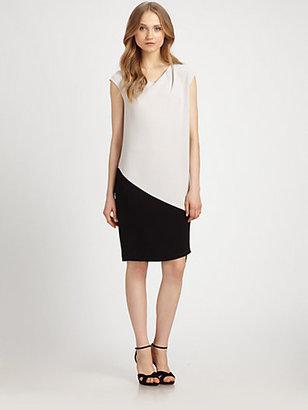 DKNY Two-Tone Asymmetrical Dress