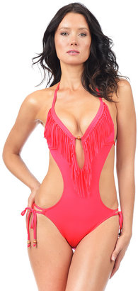 Voda Swim - Hot Coral Envy Push Up Fringe Monokini $145 thestylecure.com
