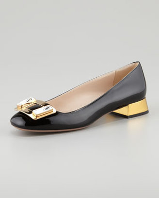 Prada Jewel-Buckle Patent Leather Pump
