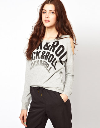 Vero Moda Rock And Roll Cold Shoulder Sweat Top