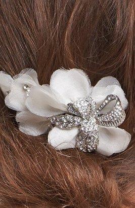 Nina 'Royal Oak' Organza Flower & Crystal Hair Comb