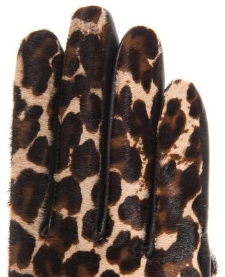 Agnelle Moka leopard calf hair and leather gloves