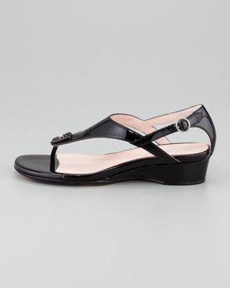 Taryn Rose Kat Patent Low-Wedge Thong Sandal, Black