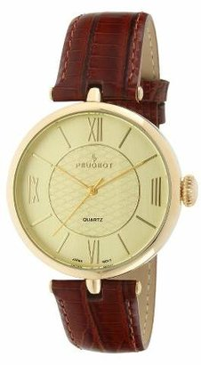 Peugeot Watches Large Dial Leather Strap Watch - Gold & Brown