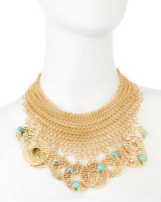 RJ Graziano Golden Disc Mesh Necklace
