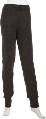 Alexander Wang Silk-Blend Knit Drawstring Banded Ankle Sweat Pants, Charcoal