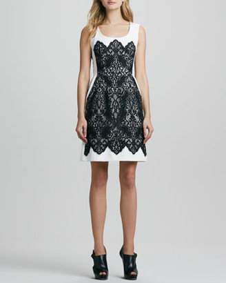Nanette Lepore Kissing Booth Lace-Panel Dress
