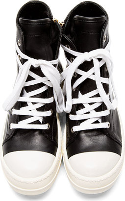 Rick Owens Black Leather Ramones Sneakers