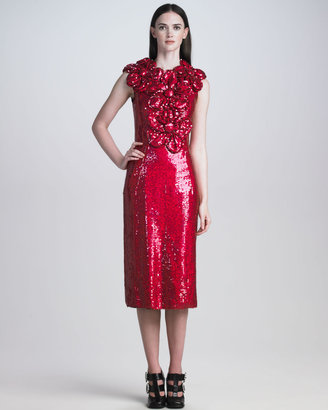 Marc Jacobs Sequined Floral-Neck Dress