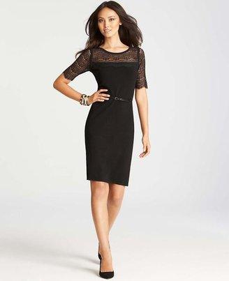 Ann Taylor Lace Overlay Short Sleeve Sweater Dress