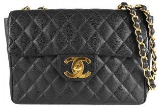 Chanel excellent (EX Black Quilted Caviar Leather Classic Jumbo XL Flap Shoulder Bag
