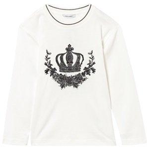 Dolce & Gabbana White Crown Applique Long Sleeve Tee