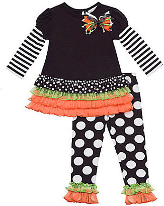 Rare Editions 3-24 Months Mixed-Media Halloween Dress & Large-Dot Leggings Set