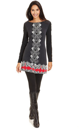 Style&Co. Petite Top, Long-Sleeve Printed Embellished Tunic