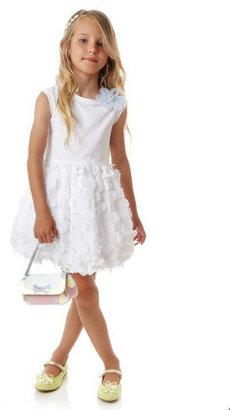 Simonetta Sleeveless Dress with Chiffon Flower Applique