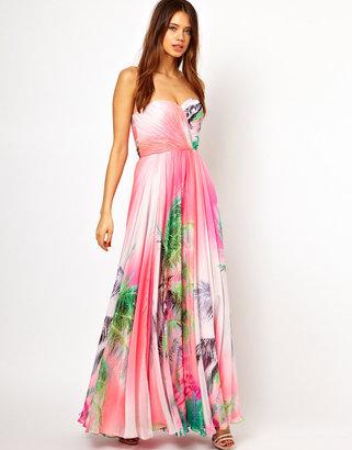 Forever Unique Bandeau Maxi Dress in Print