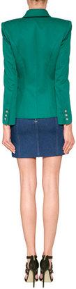 Balmain Emerald One Button Stretch Cotton Blazer